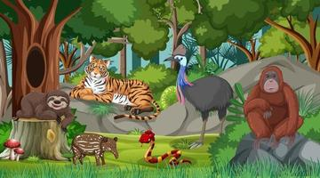 Wild animals in forest scene with many trees vector