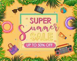 Super Summer Sale text banner with beach items vector