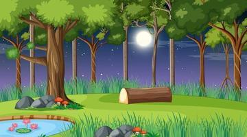 escena del paisaje forestal en la noche con muchos árboles diferentes vector