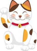 Japanese lucky cat maneki neko cartoon character isolated vector