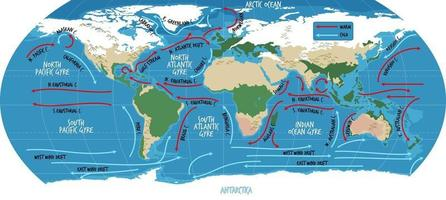 The ocean current world map with names vector