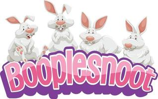 Many white rabbits cartoon character with Booplesnoot font banner isolated vector