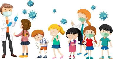 Many kids waiting in queue to get covid-19 vaccine on white background vector