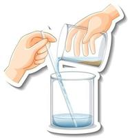 A sticker template with laboratory glassware isolated vector