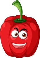 Red capsicum cartoon character with happy face expression on white background vector