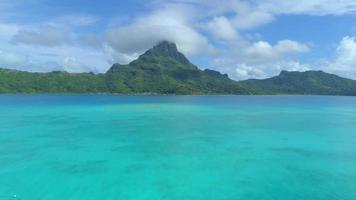 Aerial drone view of the lagoon and Mount Otemanu at Bora Bora tropical island. video