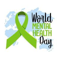 World Mental Health Day banner or logo isolated on white background vector