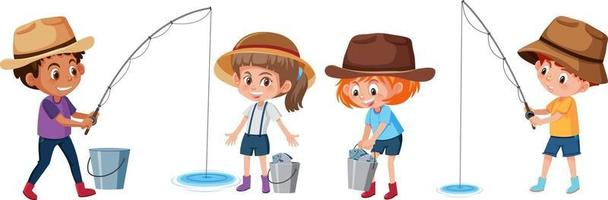 Set of different kids fishing fish cartoon character on white background vector