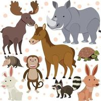 Seamless pattern with cute wild animals on white background vector