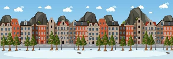 Winter horizontal scene at day time with suburban building background vector