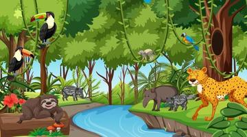 Forest at daytime scene with different wild animals vector