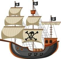 Pirate Ship in cartoon style isolated on white background vector
