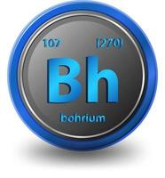 Bohrium chemical element. Chemical symbol with atomic number and atomic mass. vector
