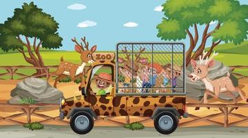 Children in the Safari scene with deer group vector