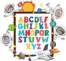 A-Z Alphabet board with kids in outer space theme vector