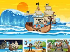 Set of different scenes with pirate ship at the sea and animals in the zoo vector