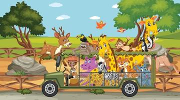Safari scene with wild animals on a tourist car vector