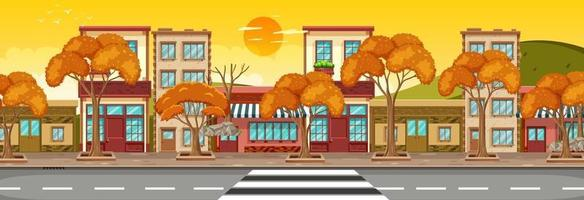 Many store buildings along the street horizontal scene at sunset time vector