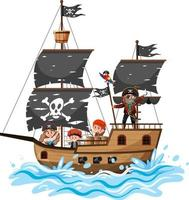 Pirate ship on ocean wave with many kids isolated on white background vector