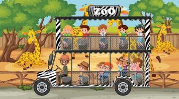 Safari at daytime scene with children in the tourist car vector
