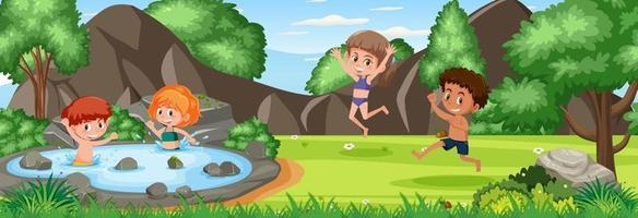 Outdoor scene with many kids playing at the nature park vector