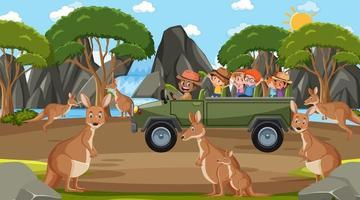 Safari at daytime scene with children watching kangaroo group vector