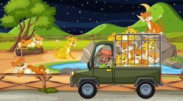 Zoo concept with leopard group in the cage car vector
