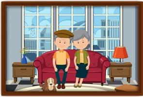 A picture of an old couple sitting at home vector