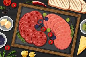Platter of pepperoni and salami on the table background vector