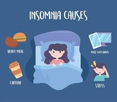 insomnia, sleep disorder causes caffeine heavy meal medicine stress and bad habits vector