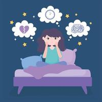 insomnia, girl in bed with depression anxiety vector