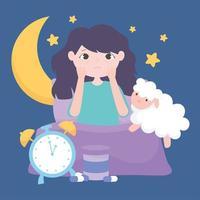 insomnia, sleepless girl on bed with sheep clock moon stars night vector