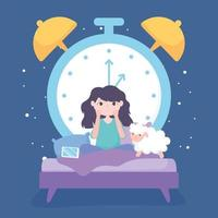 insomnia, sad girl in the bed with mobile sheep and big clock background vector