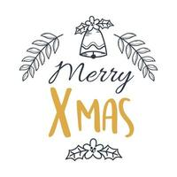 merry xmas hand drawn lettering and bell decoration vector