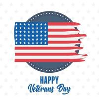 happy veterans day, american ripped flag label emblem, US military armed forces soldier vector