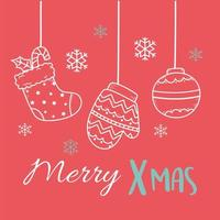 merry xmas red background with hanging mitten sock and ball decoration vector