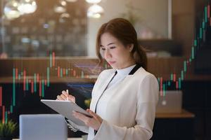 Business woman using tablet photo
