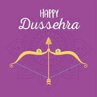happy dussehra festival of india celebration traditional card vector