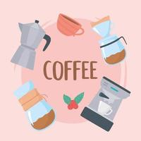coffee brewing methods, french press, filter coffee, coffee maker vector