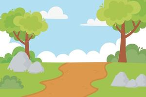 landscape rural path trees bushes stones and sky cartoon vector