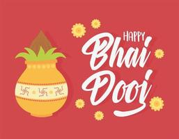 happy bhai dooj, indian family celebration culture traditional vector