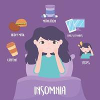 insomnia, girl in the bed, reasons disease caffeine heavy meal medicine stress vector