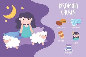 insomnia, girl with sleep disorder, causes caffeine heavy meal medicine stress and bad habits vector