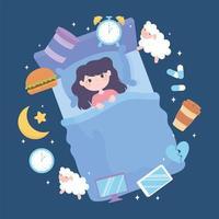 insomnia, girl sleep disorder, causes heavy meal medicine caffeine stress and poor sleep habits vector