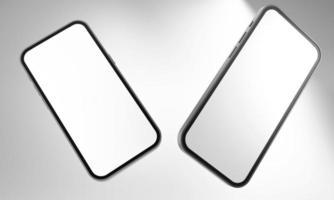 maqueta realista del teléfono inteligente del teléfono móvil aislada en el fondo blanco. Ilustración 3D. foto