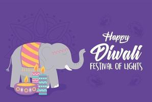 happy diwali festival, elephant candle diya lamp card, vector design