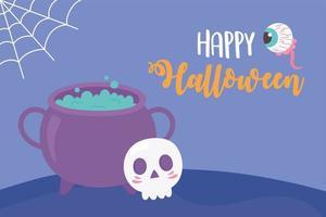happy halloween cauldron skull creepy eye and cobweb card vector