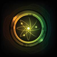 Dark Blue Shining atom scheme. illustration. Abstract Technology background for computer graphic vector