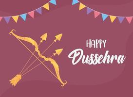 happy dussehra hindu festival celebration background card vector