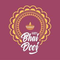happy bhai dooj, indian family celebration traditional event card vector